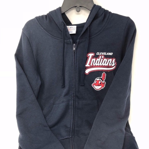 timeless design afc0a b064c Cleveland Indians Women's Navy Full Zip Up Hoodie NWT